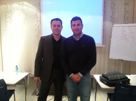 Con paco viudes en su curso sobre Social media marketing.Murcia. Marzo-2013