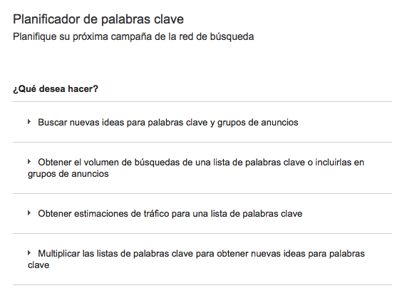 Google Keyword Planner para escoger buenas palabras clave 1